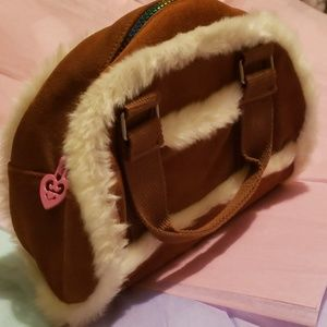 NWOT Brown Suede Purse with Faux Fur